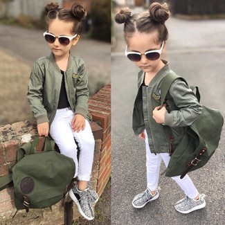 Girls' Looks & Outfits: What To Wear In 2020: Consider dressing your little girl in an olive jacket with white jeans to create a cool, stylish look. Complete this look with grey sneakers.