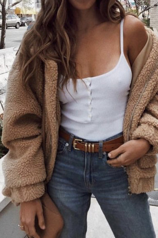 How to wear: brown leather crossbody bag, blue jeans, white tank, tan fleece bomber jacket