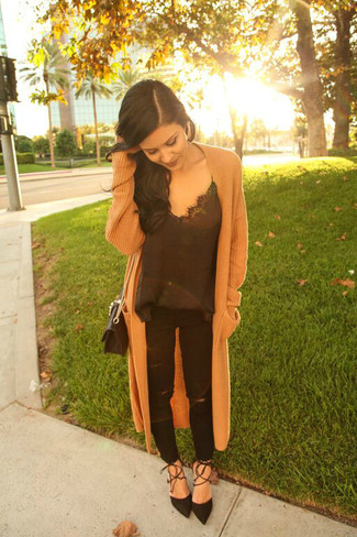How to wear: black suede pumps, black ripped jeans, black silk tank, camel knit coat