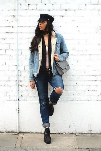 How to wear: black suede lace-up ankle boots, navy ripped jeans, white tank, light blue denim jacket