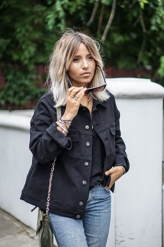 How to wear: olive leather crossbody bag, light blue jeans, black tank, black denim jacket
