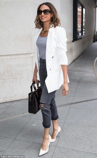 How to wear: white leather pumps, charcoal ripped jeans, grey tank, white double breasted blazer