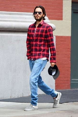 How to wear: black and white check canvas slip-on sneakers, light blue jeans, white print tank, red plaid long sleeve shirt