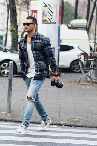 How to wear: white and black print canvas low top sneakers, light blue ripped jeans, white tank, charcoal plaid flannel long sleeve shirt