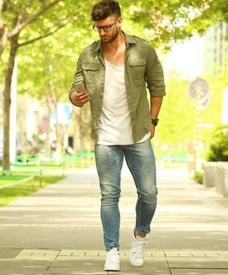 How to wear: white canvas low top sneakers, light blue jeans, white tank, olive shirt jacket