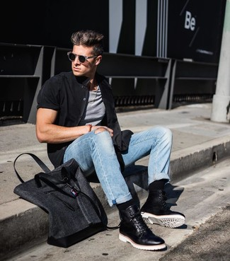 Which Short Sleeve Shirt To Wear With Light Blue Jeans For Men: This combo of a short sleeve shirt and light blue jeans makes for the perfect foundation for a laid-back and cool outfit. Finishing off with black leather casual boots is a fail-safe way to give an added touch of style to your look.