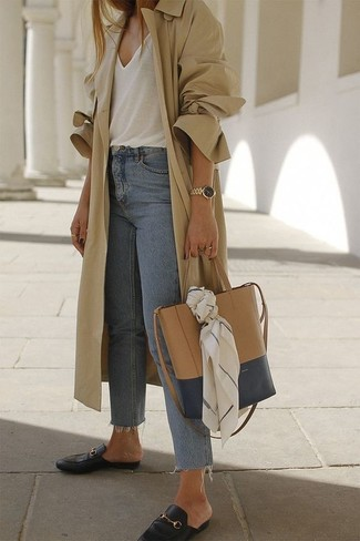 How to wear: black leather loafers, light blue jeans, white tank, tan trenchcoat
