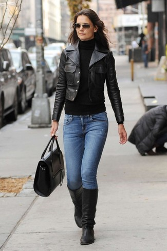 90b0c3273 How To Wear Blue Jeans With Black Leather Knee High Boots (19 looks ...