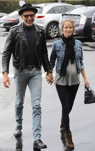 How to wear: black leather derby shoes, light blue jeans, black turtleneck, black leather biker jacket