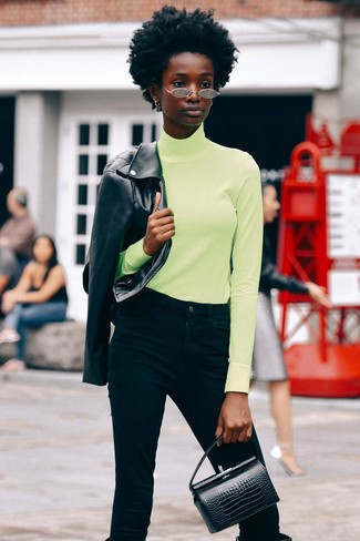 How to wear: black leather knee high boots, black jeans, green-yellow turtleneck, black leather biker jacket