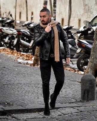 How to wear: black suede chelsea boots, black jeans, black turtleneck, black leather biker jacket