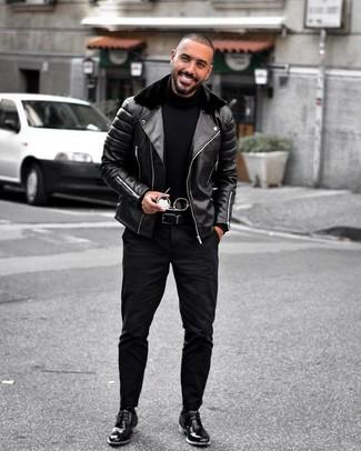 How to wear: black leather desert boots, black jeans, black turtleneck, black leather biker jacket