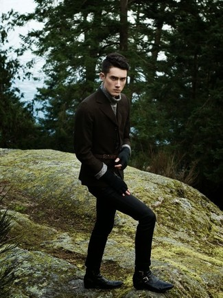 How to wear: black leather casual boots, black jeans, grey turtleneck, brown wool blazer