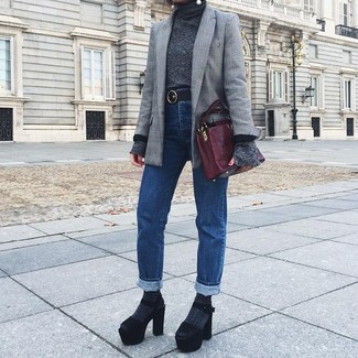 How to wear: black chunky suede heeled sandals, blue jeans, charcoal turtleneck, grey plaid blazer