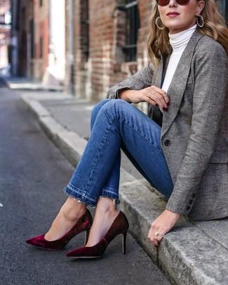 How to wear: burgundy velvet pumps, blue jeans, white turtleneck, grey plaid blazer