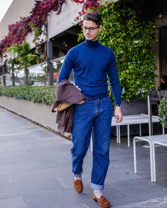 How to wear: brown suede loafers, blue jeans, blue turtleneck, dark purple wool blazer