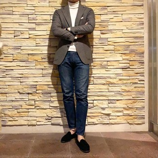How to wear: black suede loafers, navy jeans, white turtleneck, brown gingham wool blazer
