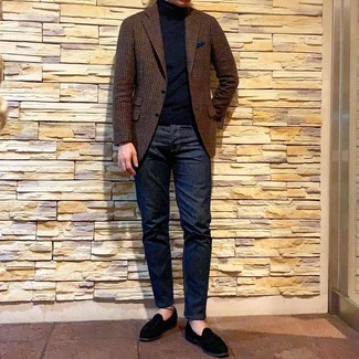 How to wear: black suede loafers, navy jeans, black turtleneck, brown gingham wool blazer