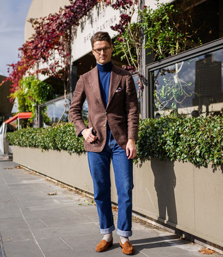 How to wear: tobacco suede loafers, blue jeans, navy turtleneck, brown wool blazer