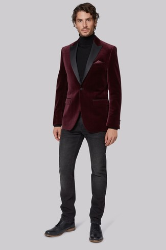 How to wear: black leather brogues, charcoal jeans, black turtleneck, burgundy velvet blazer