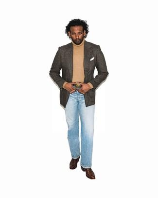 How to wear: dark brown leather cowboy boots, light blue jeans, tan turtleneck, dark brown herringbone blazer