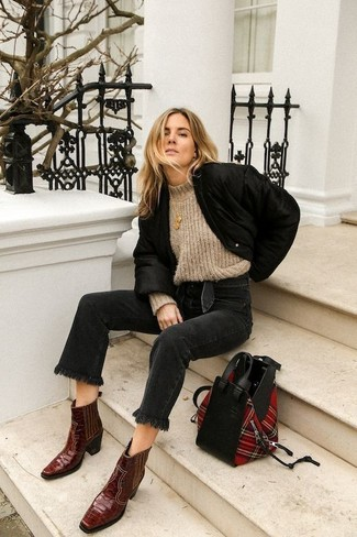 How to Wear a Jacket For Women: This relaxed combination of a jacket and black jeans can take on different forms according to how you style it out. Burgundy leather cowboy boots are a guaranteed way to bring a hint of stylish effortlessness to your look.