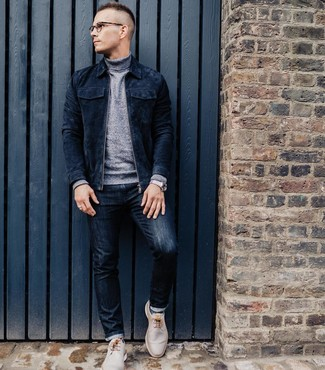 How to wear: beige leather desert boots, navy jeans, grey turtleneck, navy suede bomber jacket