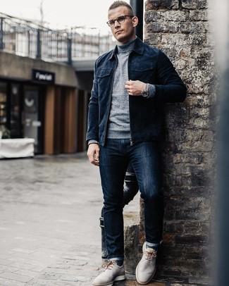 How to wear: grey leather derby shoes, navy jeans, grey turtleneck, navy suede bomber jacket