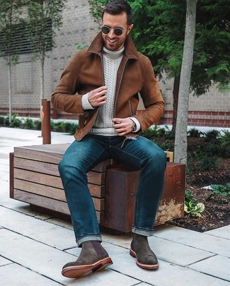 How to wear: charcoal suede chelsea boots, blue jeans, white knit turtleneck, brown suede bomber jacket