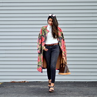 How to wear: dark brown leather wedge sandals, black jeans, white turtleneck, black floral coat