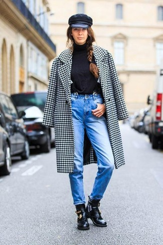 How to wear: black cutout leather ankle boots, blue jeans, black turtleneck, white and black houndstooth coat