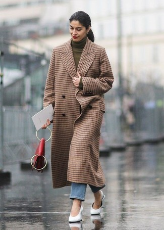 How to wear: white leather mules, blue jeans, olive turtleneck, brown check coat