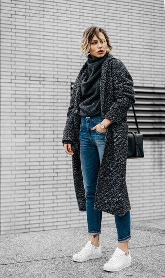 How to wear: white leather low top sneakers, blue jeans, charcoal wool turtleneck, charcoal coat