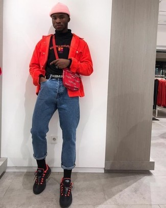 How to wear: red and black athletic shoes, blue jeans, black print turtleneck, red denim jacket