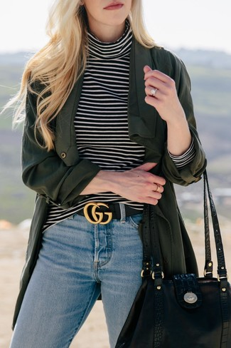 How to wear: black leather tote bag, light blue jeans, black and white horizontal striped turtleneck, dark green duster coat