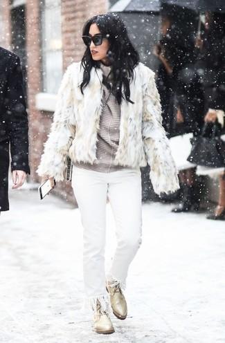 How to wear: beige leather lace-up flat boots, white fringe jeans, grey horizontal striped turtleneck, beige fur jacket