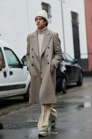 How to wear: grey suede athletic shoes, beige corduroy jeans, beige turtleneck, beige plaid overcoat