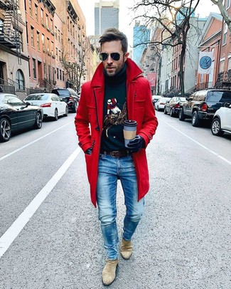 How to wear: beige suede chelsea boots, blue jeans, navy print turtleneck, red overcoat