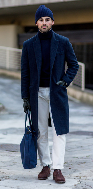 How to wear: dark brown suede oxford shoes, white jeans, navy turtleneck, navy overcoat