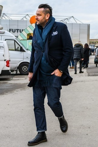 Fashion for Men Over 40: What To Wear: For relaxed sophistication with a manly finish, you can rely on a navy overcoat and navy jeans. Feeling venturesome? Jazz things up by rounding off with black leather chelsea boots.