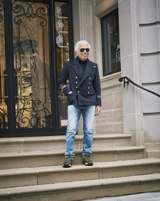 How to wear: black athletic shoes, blue jeans, navy turtleneck, black pea coat