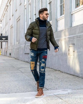 How to wear: brown leather brogue boots, blue patchwork jeans, navy and white horizontal striped turtleneck, dark green puffer jacket