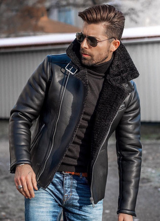 How to wear: tobacco woven leather belt, blue jeans, black turtleneck, black shearling jacket