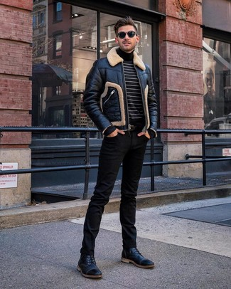 How to wear: black leather casual boots, black jeans, black and white horizontal striped turtleneck, black shearling jacket