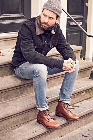 How to Wear Light Blue Jeans For Men: A black suede shirt jacket and light blue jeans are a smart getup worth having in your day-to-day casual wardrobe. Here's how to polish off this outfit: brown leather dress boots.
