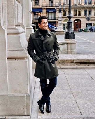 How to Wear Black Leather Gloves For Men: Such staples as a black leather trenchcoat and black leather gloves are the perfect way to introduce muted dapperness into your casual rotation. A pair of black leather chelsea boots will spruce up your outfit.