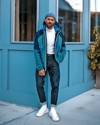 How to Wear a Navy Knit Beanie For Men: For a look that offers function and style, consider pairing a teal windbreaker with a navy knit beanie. If you wish to instantly rev up this look with footwear, introduce a pair of white leather low top sneakers to your ensemble.