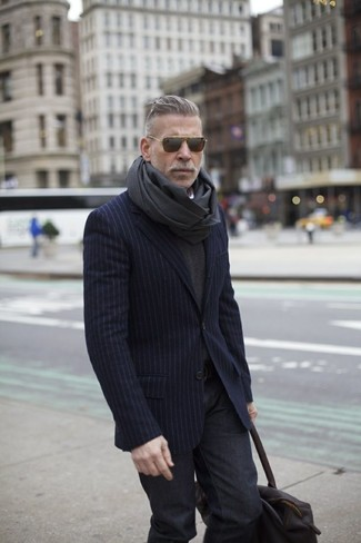How to wear: charcoal scarf, charcoal jeans, charcoal v-neck sweater, navy vertical striped blazer
