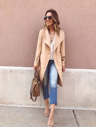 How to wear: beige suede heeled sandals, blue ripped jeans, white v-neck t-shirt, camel coat