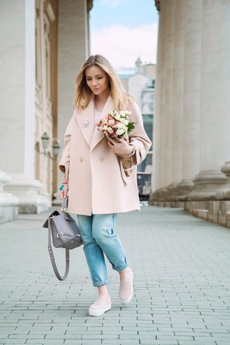 How to wear: pink slip-on sneakers, light blue jeans, white v-neck t-shirt, pink coat